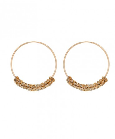 LINK MEDIUM HOOPS WITH SILVER CHAIN