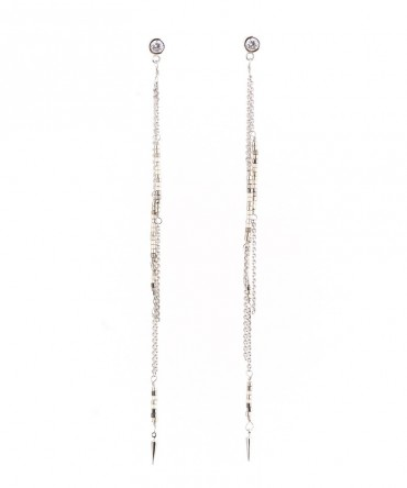 MICA LONG EARRINGS WITH SILVER CHAIN AND GREY BEADS
