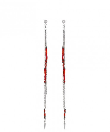 MICA LONG EARRINGS WITH SILVER CHAIN AND RED BEADS