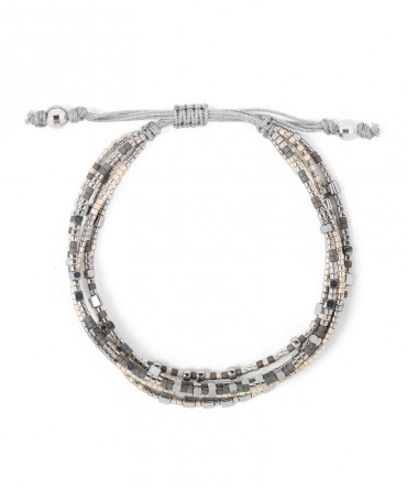MICA 5 STRANDS BRACELET WITH GREY AND SILVER BEADS