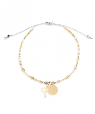MICA BRACELET WITH MEDALLION AND KEY CHARMS