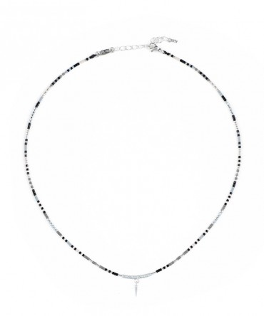 MICA SILVER NECKLACE WITH DECORATIVE STUD