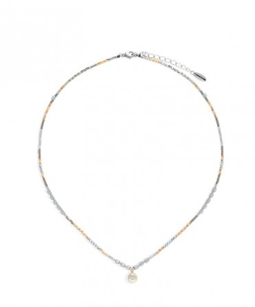 MICA SILVER&GOLD NECKLACE WITH MEDALLION CHARM DECORATED WITH CUBIC CYRCONIA