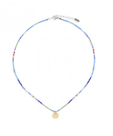 MICA BLUE-AZURE NECKLACE WITH MEDALLION CHARM