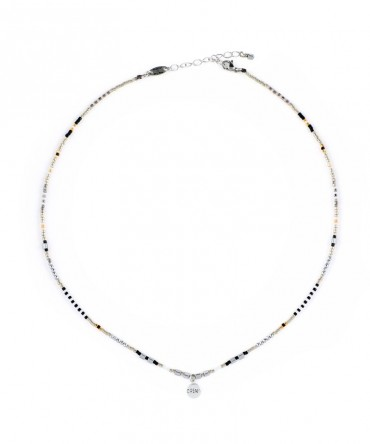 """MICA SILVER NECKLACE WITH MEDALLION """"DREAM"""" CHARM"""